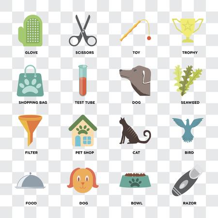 Set Of 16 icons such as Razor, Bowl, Dog, Food, Bird, Glove, Shopping bag, Filter on transparent background, pixel perfect Standard-Bild - 111926888