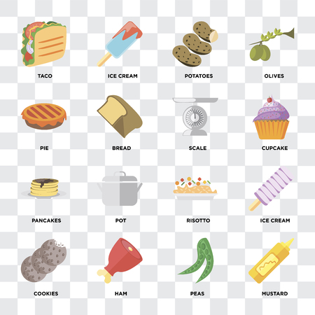 Set Of 16 icons such as Mustard, Peas, Ham, Cookies, Ice cream, Taco, Pie, Pancakes, Scale on transparent background, pixel perfect