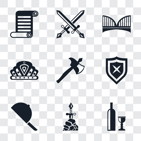 Set Of 9 simple transparency icons such as Wine, Excalibur, Hat, Shield, Axe, Crown, Bridge, Swords, Scroll, can be used for mobile, pixel perfect vector icon pack on transparent background