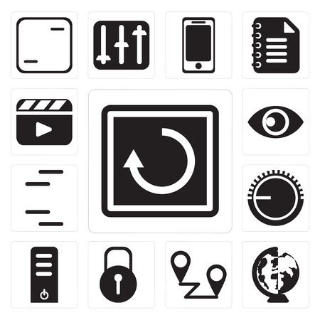 Set Of 13 simple editable icons such as Restart, Worldwide, Placeholders, Locked, Server, Volume control, Lines, View, Video player, web ui icon pack Stock Vector - 111926892