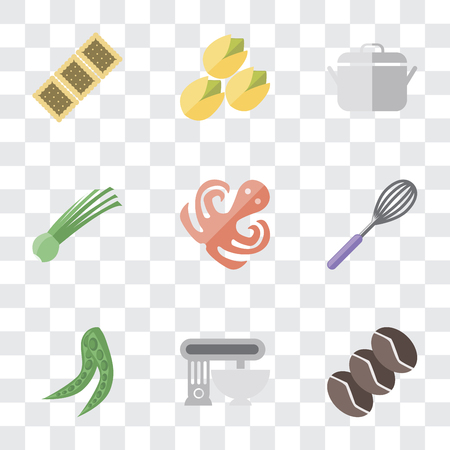 Set Of 9 simple transparency icons such as Coffee, Mixer, Peas, Whisk, Octopus, Chives, Pot, Pistachio, Biscuit, can be used for mobile, pixel perfect vector icon pack on transparent background