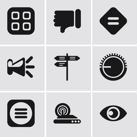 Set Of 9 simple editable icons such as View, Wireless internet, Menu, Volume control, Street, Speaker, Equal, Dislike, can be used for mobile, pixel perfect vector icon pack