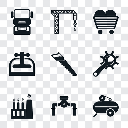 Set Of 9 simple transparency icons such as Compressor, Pump, Factory, Maintenance, Saw, Machine press, Coal, Crane, Truck, can be used for mobile, pixel perfect vector icon pack on transparent