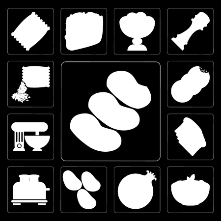 Set Of 13 simple editable icons such as Potatoes, Pasta, Pomegranate, Toaster, Toast, Mixer, Cookies, Seeds on black background