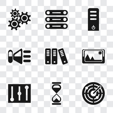 Set Of 9 simple transparency icons such as Radar, Hourglass, Controls, Picture, Archive, Speaker, Server, Database, Settings, can be used for mobile, pixel perfect vector icon pack on transparent