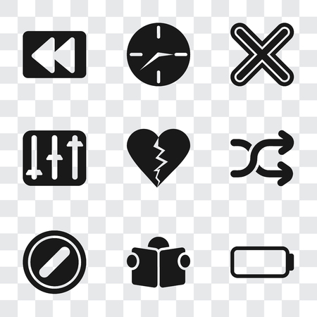 Set Of 9 simple transparency icons such as Battery, Reading, Forbidden, Shuffle, Dislike, Controls, Multiply, Clock, Rewind, can be used for mobile, pixel perfect vector icon pack on transparent