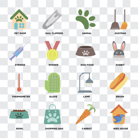 Set Of 16 icons such as Bird house, Carrot, Shopping bag, Bowl, Brush, Pet shop, Syringe, Thermometer, Dog food on transparent background, pixel perfect