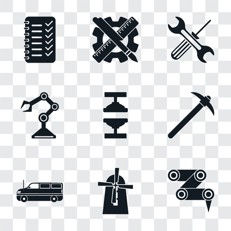 Set Of 9 simple transparency icons such as Robot arm, Mill, Cargo truck, Pick, Machine press, Tools, Planning, can be used for mobile, pixel perfect vector icon pack on