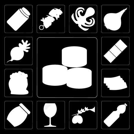 Set Of 13 simple editable icons such as Sushi, Water, Olives, Glass, Jam, Bacon, Flour, Biscuit, Radish on black background