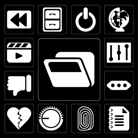 Set Of 13 simple editable icons such as Folder, Notepad, Fingerprint, Volume control, Dislike, More, Controls, Video player on black background