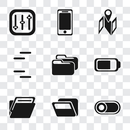 Set Of 9 simple transparency icons such as Switch, Folder, Battery, Map, Smartphone, Controls, can be used for mobile, pixel perfect vector icon pack on transparent background