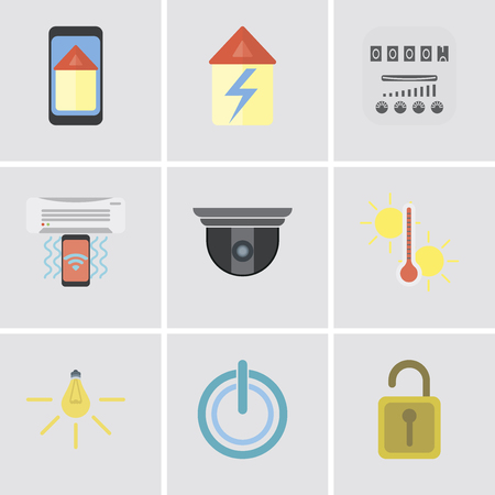 Set Of 9 simple editable icons such as Unlock, Power, Light, Temperature, Security camera, Air conditioner, Meter, Home, Smart home, can be used for mobile, pixel perfect vector icon pack
