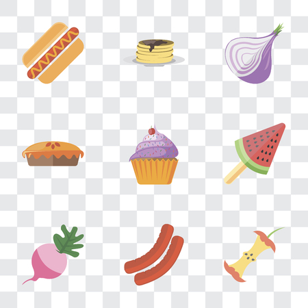 Set Of 9 simple transparency icons such as Apple, Sausage, Radish, Ice cream, Cupcake, Pie, Onion, Pancakes, Hot dog, can be used for mobile, pixel perfect vector icon pack on transparent background