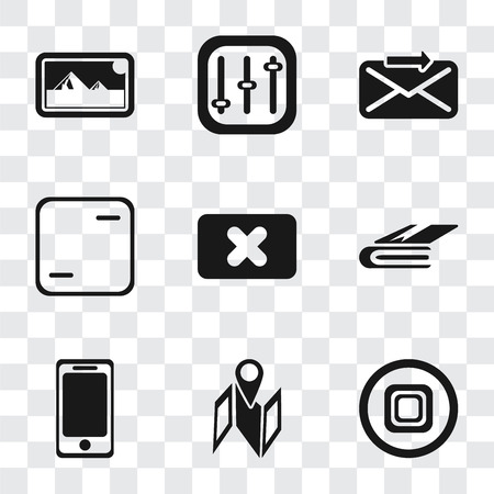 Set Of 9 simple transparency icons such as Stop, Map, Smartphone, Notebook, Close, Frame, Send, Controls, Photos, can be used for mobile, pixel perfect vector icon pack on transparent background