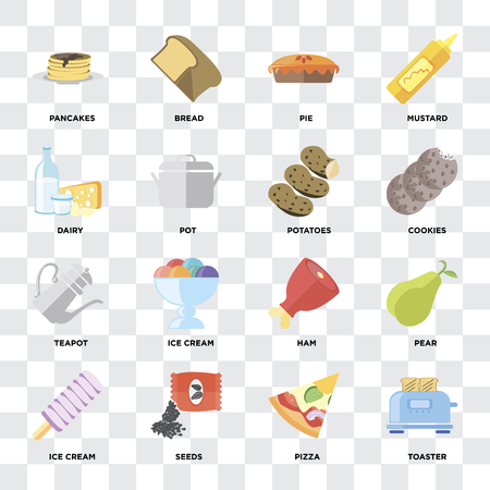 Set Of 16 icons such as Toaster, Pizza, Seeds, Ice cream, Pear, Pancakes, Dairy, Teapot, Potatoes on transparent background, pixel perfect