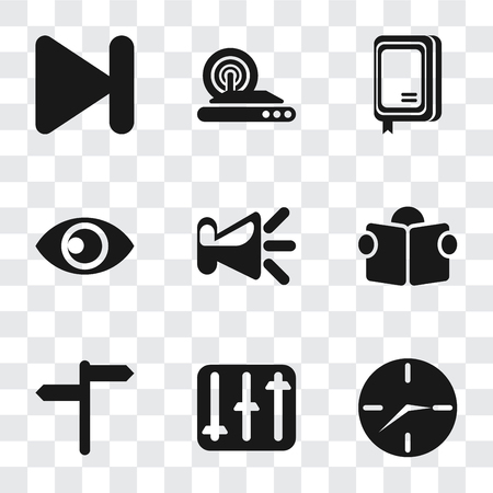 Set Of 9 simple transparency icons such as Clock, Controls, Reading, Speaker, View, Notebook, Wireless internet, Next, can be used for mobile, pixel perfect vector icon pack on transparent background