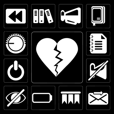Set Of 13 simple editable icons such as Dislike, Send, Bookmark, Battery, Hide, Muted, Switch, Notepad, Volume control on black background