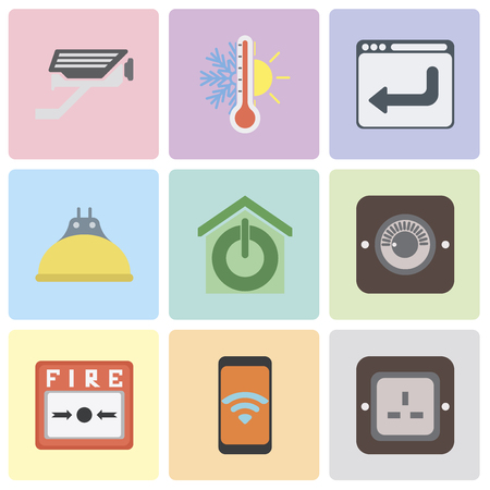 Set Of 9 simple editable icons such as Plug, Mobile, Fire alarm, Dimmer, Smart home, Lightbulb, Browser, Thermostat, Cctv, can be used for mobile, pixel perfect vector icon pack