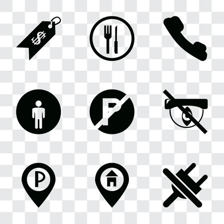 Conjunto de 9 iconos de transparencia simple como Sin enchufe, Ubicación, Estacionamiento, Oculto, Estacionamiento, Baño, Teléfono, Restaurante, Precio, se puede utilizar para dispositivos móviles, paquete de iconos vectoriales perfectos de píxeles en