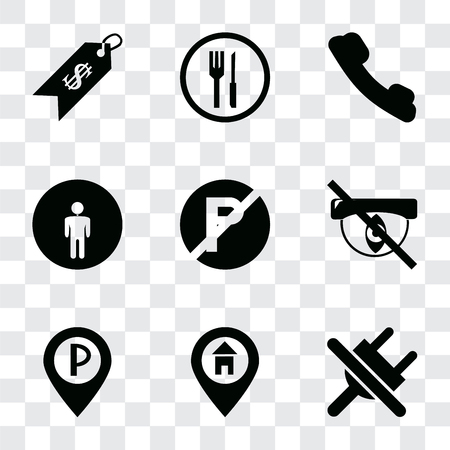 Set Of 9 simple transparency icons such as No plug, Location, Parking, Hidden, parking, Restroom, Telephone, Restaurant, Price, can be used for mobile, pixel perfect vector icon pack on Illustration