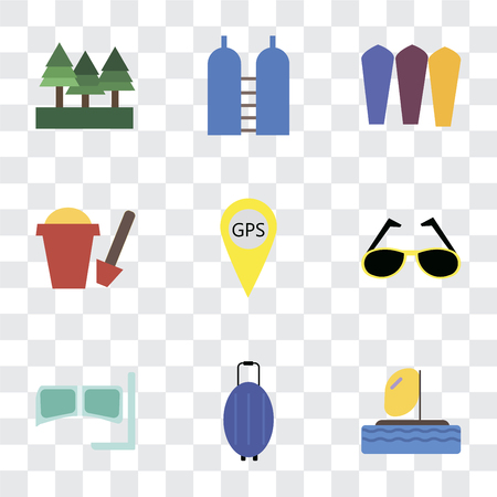 Set Of 9 simple transparency icons such as Parasailing, Luggage, Snorkel, Sunglasses, Gps, Sand bucket, Surfing, Oxygen, Forest, can be used for mobile, pixel perfect vector icon pack on transparent