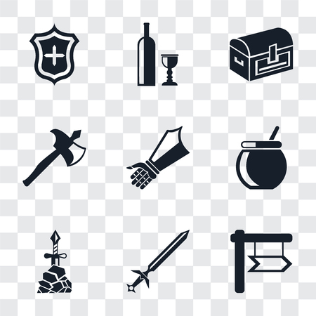 Set Of 9 simple transparency icons such as Sword, Excalibur, Cauldron, Gauntlet, Axe, Chest, Wine, Shield, can be used for mobile, pixel perfect vector icon pack on transparent background