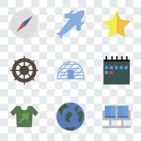 Set Of 9 simple transparency icons such as Waiting room, Travel, Shirt, Calendar, Igloo, Helm, Star, Plane, Compass, can be used for mobile, pixel perfect vector icon pack on transparent background  イラスト・ベクター素材