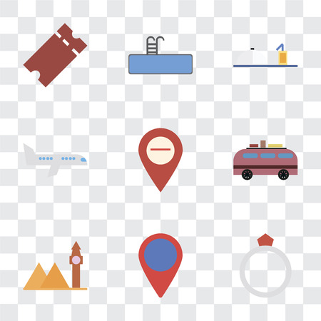 Set Of 9 simple transparency icons such as Ring, Location, Landmark, Minivan, Map, Airplane, Room service, Swimming pool, Tickets, can be used for mobile, pixel perfect vector icon pack on Stock Vector - 111926923