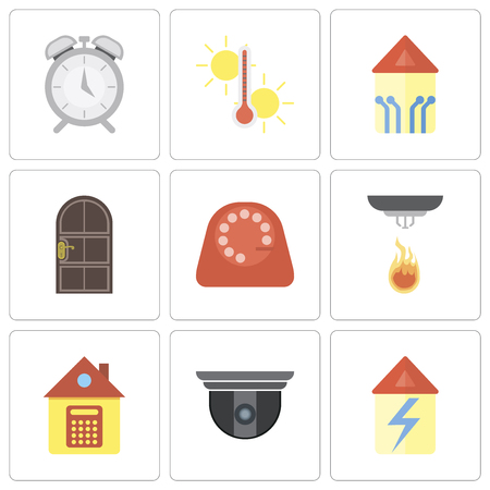 Set Of 9 simple editable icons such as Home, Security camera, Sensor, Dial, Door, Smart home, Temperature, Alarm, can be used for mobile, pixel perfect vector icon pack