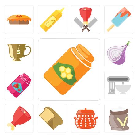 Set Of 13 simple editable icons such as Honey, Flour, Pot, Bread, Ham, Mixer, Jam, Onion, Tea, web ui icon pack