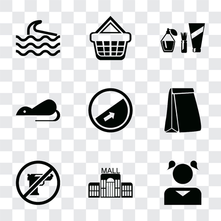 Set Of 9 simple transparency icons such as Girl, Mall, Gun, Paper bag, Slope, Rats, Cosmetics, Shopping basket, Wave, can be used for mobile, pixel perfect vector icon pack on transparent background