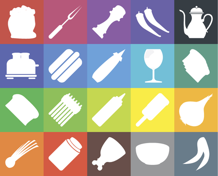 Set Of 20 icons such as Peas, Bowl, Ham, Pickles, Chives, Teapot, Onion, Mustard, Bread, Hot dog, Glass, Flour, Toast, Pepper, web UI editable icon pack, pixel perfect