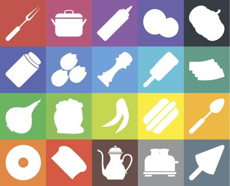 Set Of 20 icons such as Ice cream, Toaster, Teapot, Bread, Doughnut, Pumpkin, Spoon, Peas, Onion, Pistachio, Fork, Bacon, Mustard, web UI editable icon pack, pixel perfect
