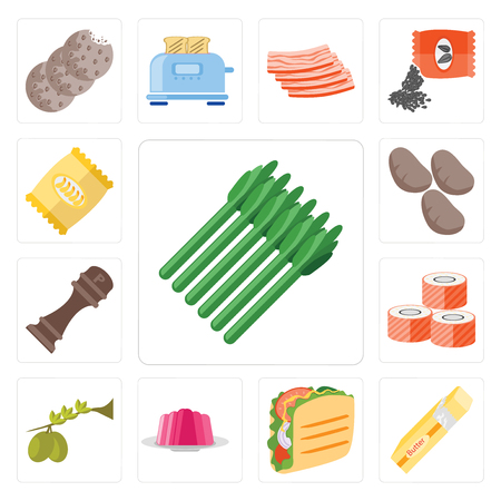 Set Of 13 simple editable icons such as Asparagus, Butter, Taco, Jelly, Olives, Sushi, Pepper, Potatoes, Chips, web ui icon pack