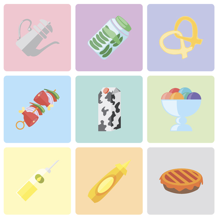 Set Of 9 simple editable icons such as Pie, Mustard, Oil, Ice cream, Milk, Kebab, Pretzel, Pickles, Teapot, can be used for mobile, pixel perfect vector icon pack Çizim
