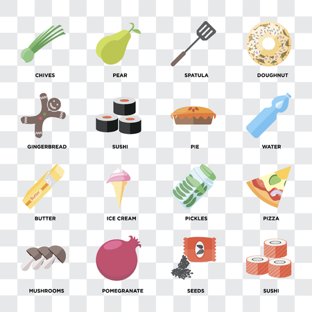 Set Of 16 icons such as Sushi, Seeds, Pomegranate, Mushrooms, Pizza, Chives, Gingerbread, Butter, Pie on transparent background, pixel perfect Banco de Imagens - 111926933