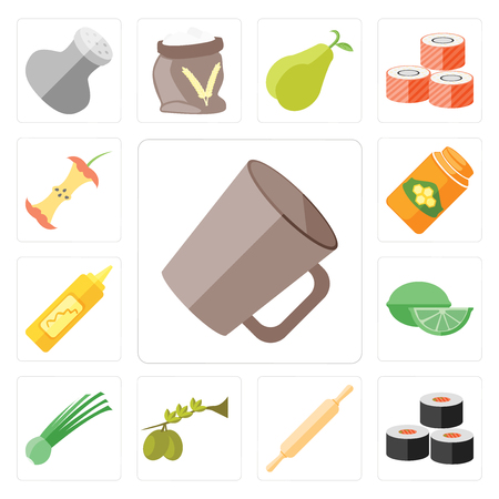 Set Of 13 simple editable icons such as Mug, Sushi, Rolling pin, Olives, Chives, Lime, Mustard, Honey, Apple, web ui icon pack