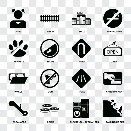 Set Of 16 icons such as Falling rocks, Electrical appliances, Coins, Escalator, Card payment, Girl, No pets, Wallet, Turn on transparent background, pixel perfect