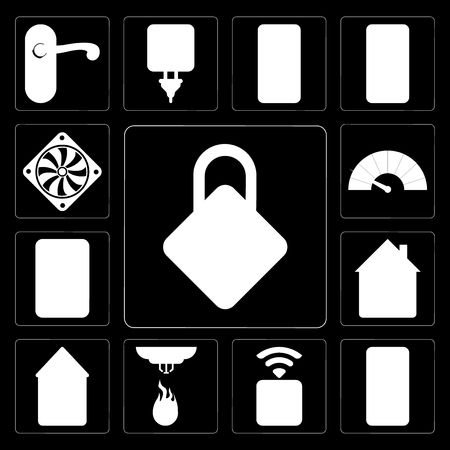 Set Of 13 simple editable icons such as Locking, Mobile, Socket, Sensor, Home, Plug, Meter, Cooler on black background Stock Illustratie