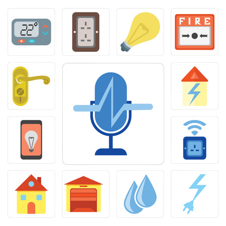 Set Of 13 simple editable icons such as Voice control, Power, Water, Garage, Home, Socket, Mobile, Doorknob, web ui icon pack