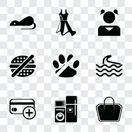 Set Of 9 simple transparency icons such as Tote bag, Electrical appliances, Cit card, Wave, No pets, fast food, Girl, Dress, Rats, can be used for mobile, pixel perfect vector icon pack on  イラスト・ベクター素材