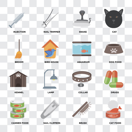 Set Of 16 icons such as Cat food, Brush, Nail clippers, Canned Drugs, Injection, Broom, Kennel, Aquarium on transparent background, pixel perfect Foto de archivo - 111926944