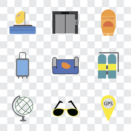 Set Of 9 simple transparency icons such as Gps, Sunglasses, Globe, Aqualung, Map, Suitcases, Sun protection, Elevator, Parasailing, can be used for mobile, pixel perfect vector icon pack on