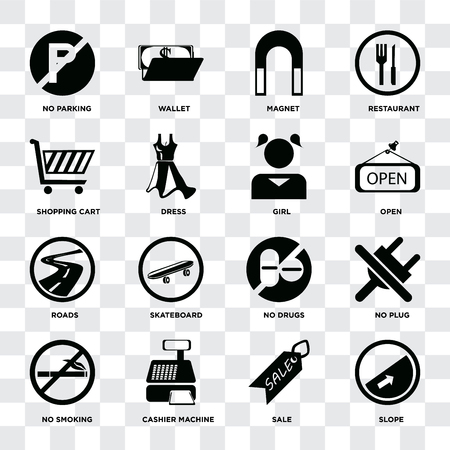 Set Of 16 icons such as Slope, Sale, Cashier machine, No smoking, plug, parking, Shopping cart, Roads, Girl on transparent background, pixel perfect Banque d'images - 111926946