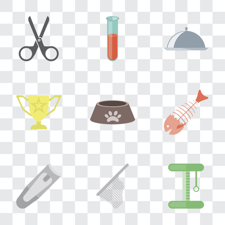 Set Of 9 simple transparency icons such as Platform, Net, Nail clippers, Fish bone, Dog food, Trophy, Food, Test tube, Scissors, can be used for mobile, pixel perfect vector icon pack on transparent Archivio Fotografico - 111926949