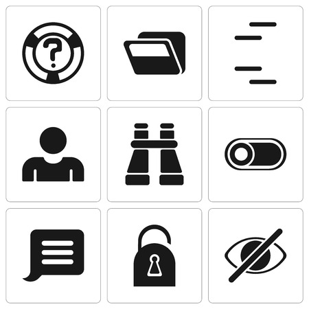Set Of 9 simple editable icons such as Hide, Locked, Notification, Switch, Binoculars, User, Folder, Help, can be used for mobile, pixel perfect vector icon pack