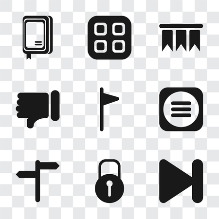 Set Of 9 simple transparency icons such as Next, Locked, Menu, Flag, Dislike, Bookmark, Notebook, can be used for mobile, pixel perfect vector icon pack on transparent background Ilustração