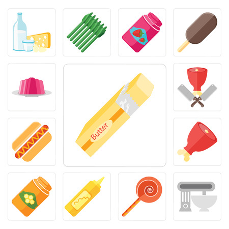 Set Of 13 simple editable icons such as Butter, Mixer, Jawbreaker, Mustard, Honey, Ham, Hot dog, Butcher, Jelly, web ui icon pack