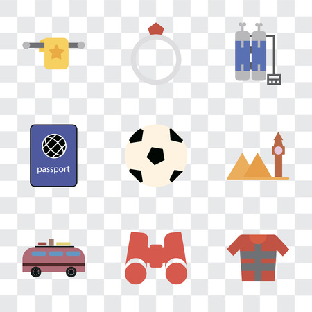 Set Of 9 simple transparency icons such as Lifejacket, Binoculars, Minivan, Landmark, Ball, Passport, Oxygen tank, Ring, Towel, can be used for mobile, pixel perfect vector icon pack on transparent