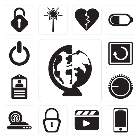 Set Of 13 simple editable icons such as Worldwide, Smartphone, Video player, Locked, Wireless internet, Volume control, Id card, Restart, Switch, web ui icon pack
